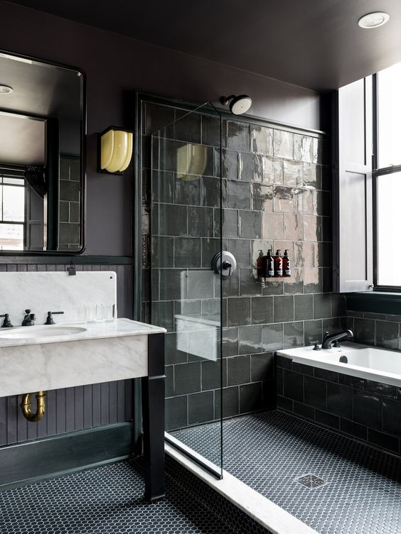 Bathroom Design With Walk In Shower And Freestanding Bathtub