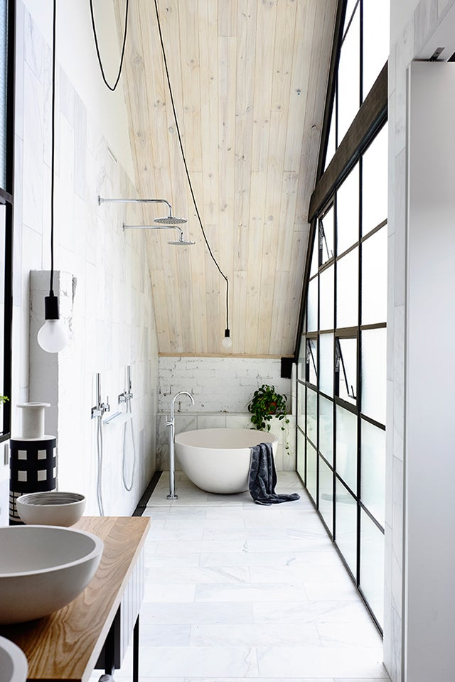 Bathroom Design With Walk In Shower And Freestanding Bathtub