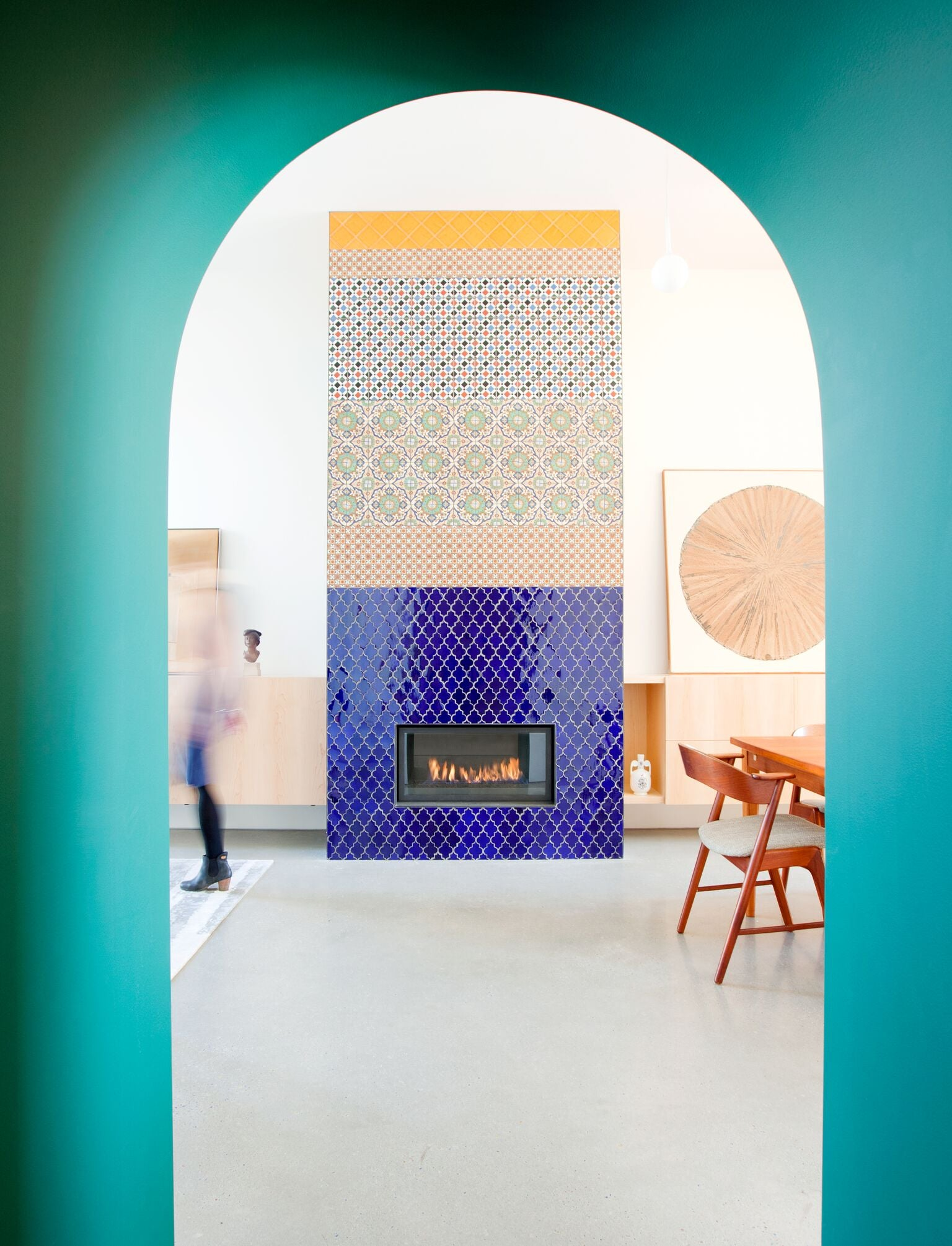 Patterned Tile Fireplace Inspiration and Ideas