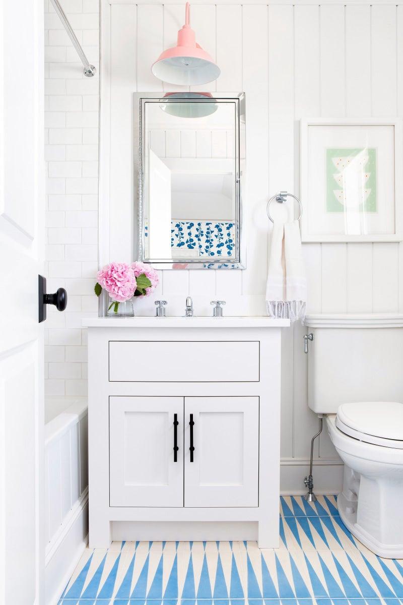 a bathroom designed with contemporary floor tiles