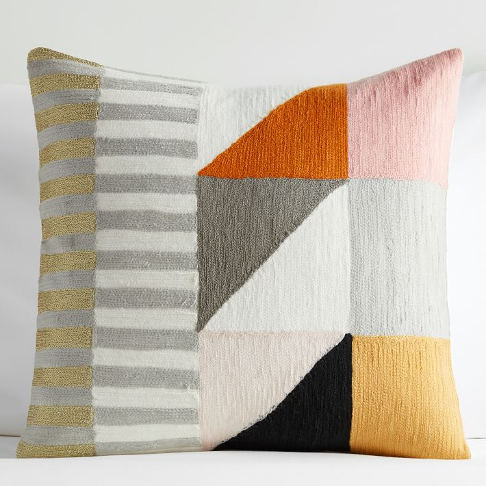 Divided Squares Crewel Nursery Pillow Cover – Blush