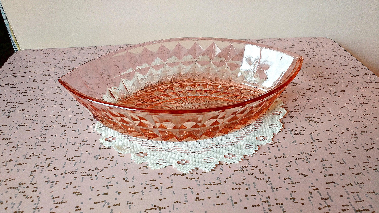 Vintage pink depression glass dish