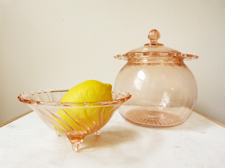 image 0 image 1 Vintage Blush Pink Depression Era Glass Candy Dish
