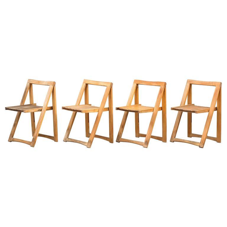 Set of Four Danish Mid-Century Folding Chairs