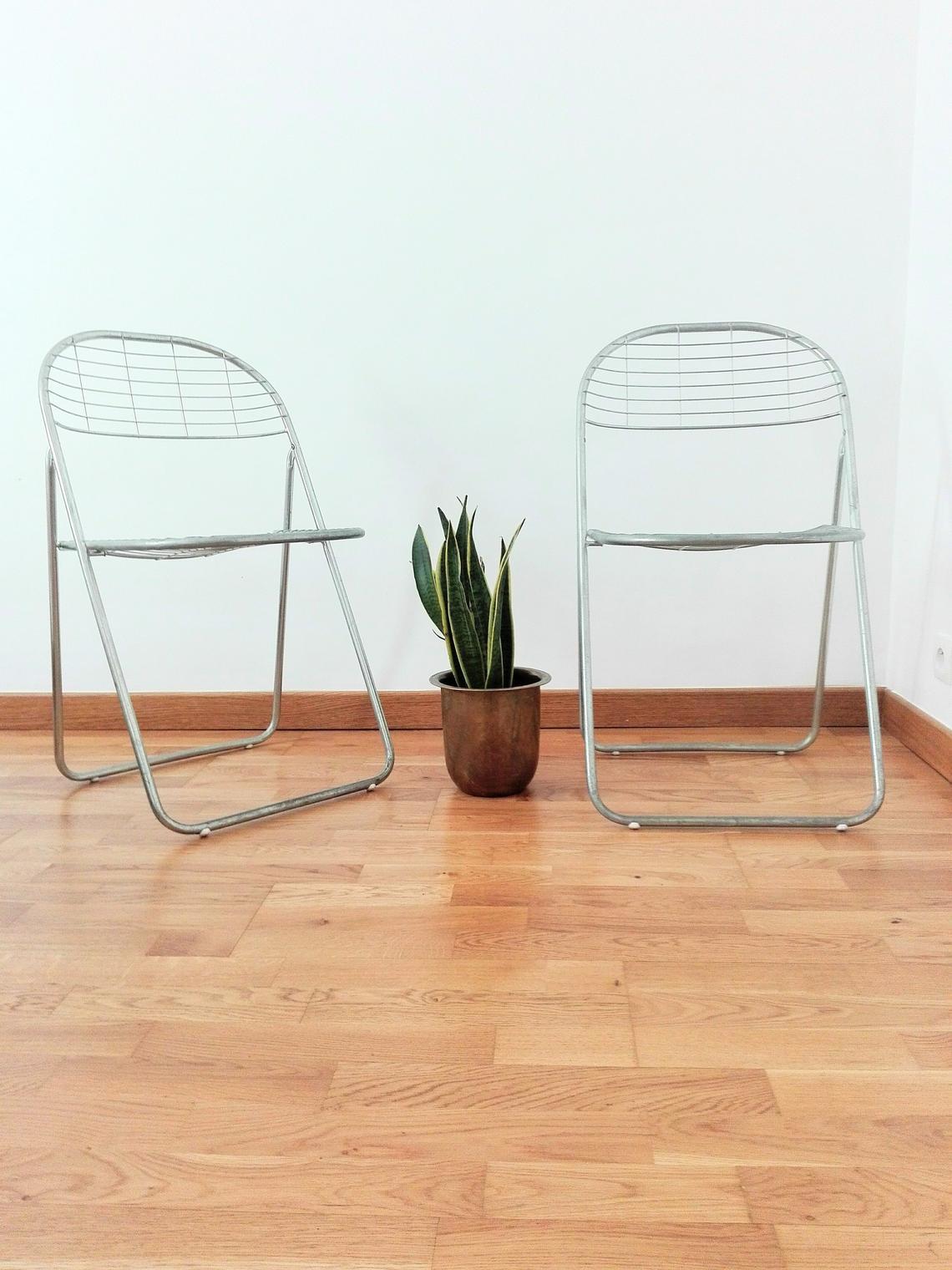 Vintage Industrial Metal Folding Chair