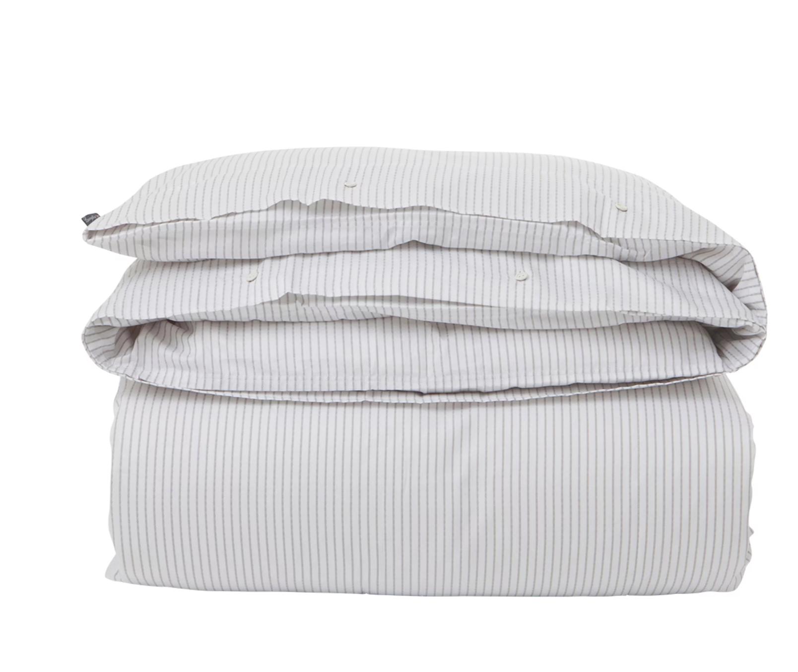 White:Light Gray Tencel Striped Duvet