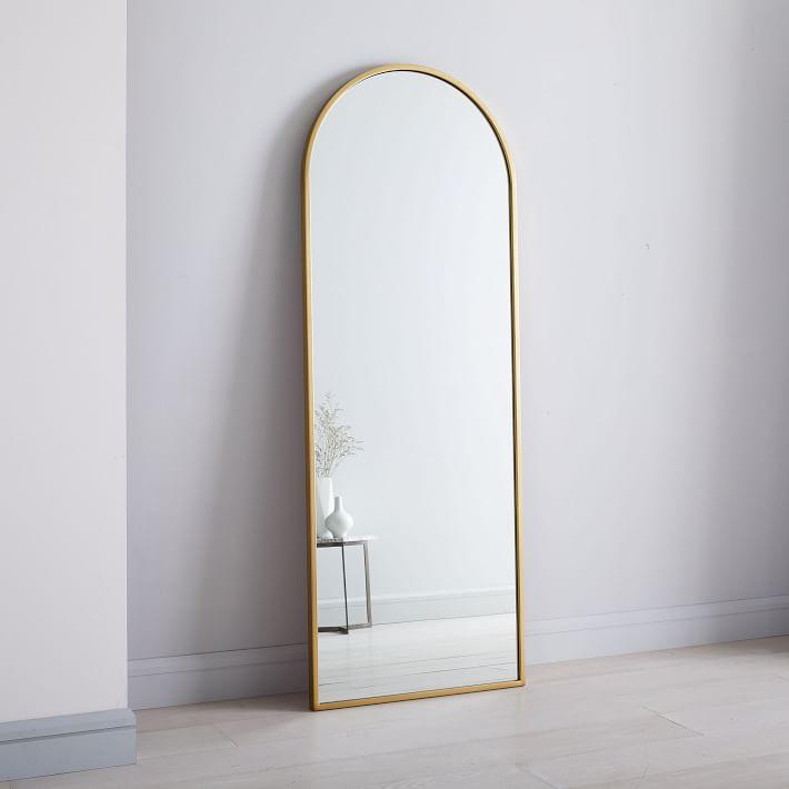 Metal Framed Arched Floor Mirror