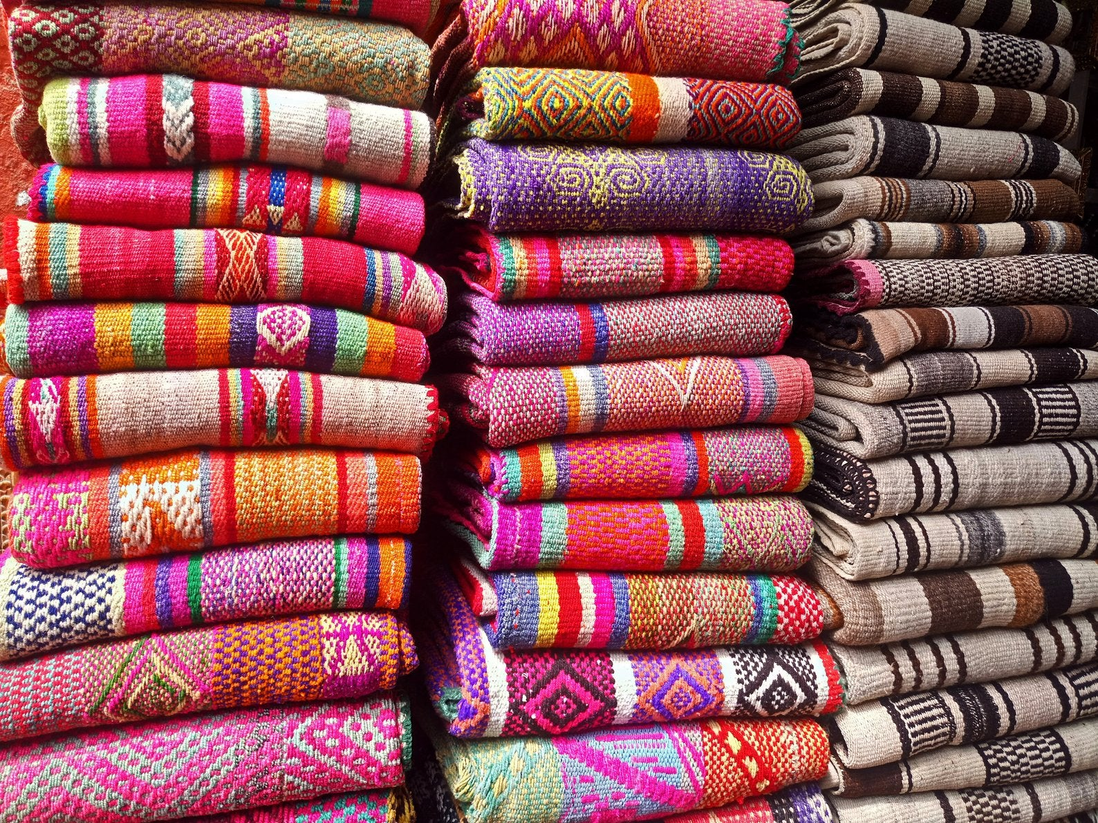 Peruvian colorful blankets