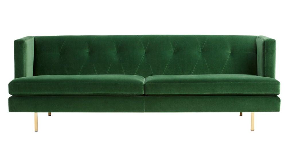 cb2 green sofa