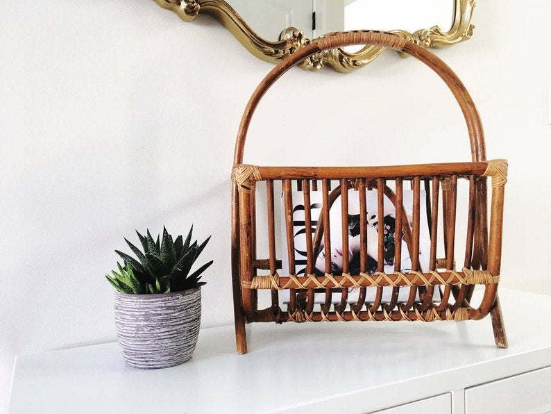 Rattan Magazine Holder Repurpose