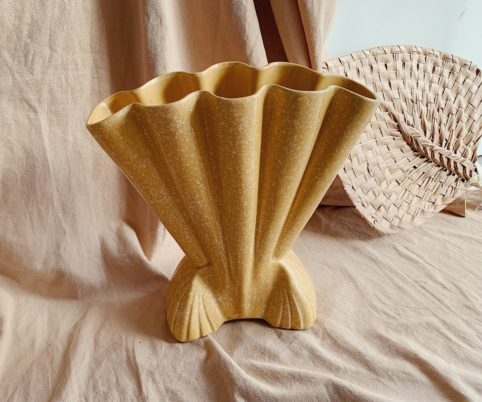 Copy of FEATURED_Mid Century Ceramic Scallop Shell Vase