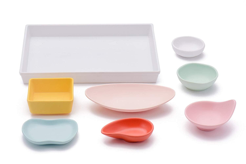 Sugar _ Cloth White Melamine Tray and Multicolor Condiment Cups Set