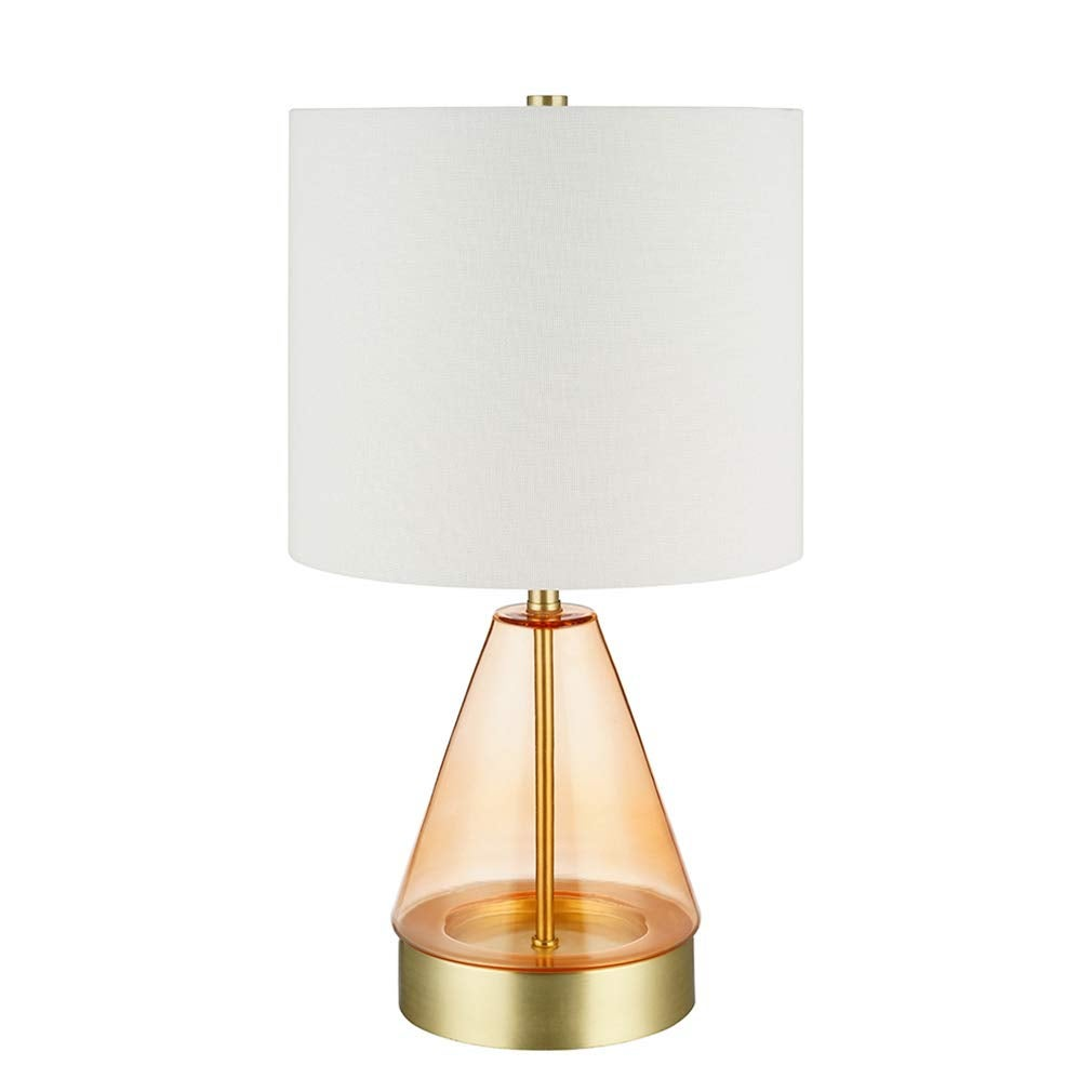 AIR SIGNS : Rivet Modern Smokey Glass and Brass Table Lamp