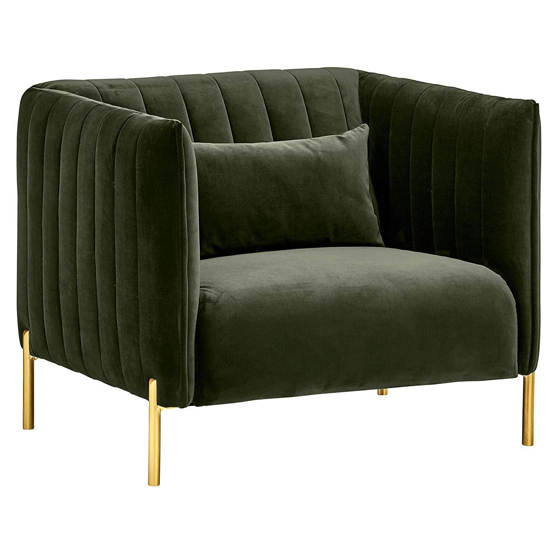 Rivet Frederick Velvet Channel Tufted EARTH SIGNS : Mid-Century Modern Living Room Chair