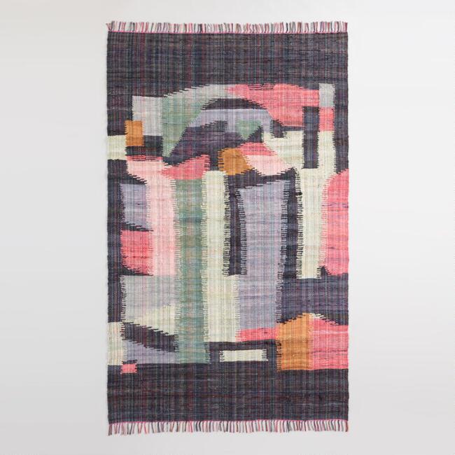Black Multicolor Abstract Cotton Chindi Cordes Area Rug