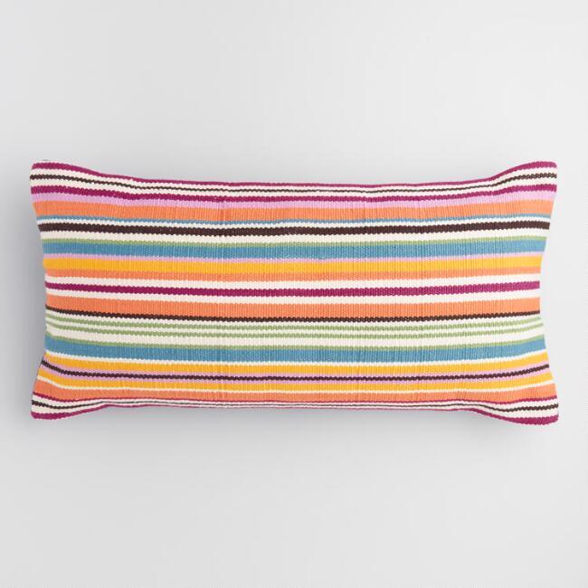 Oversized Multicolored Stripe Indoor Outdoor Lumbar Pillow