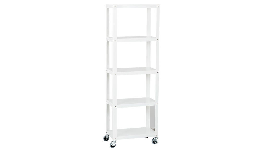 go-cart white five-shelf rolling bookcase