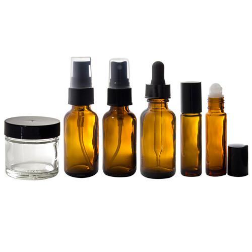 Amber Glass Bottle 5 piece Starter Kit