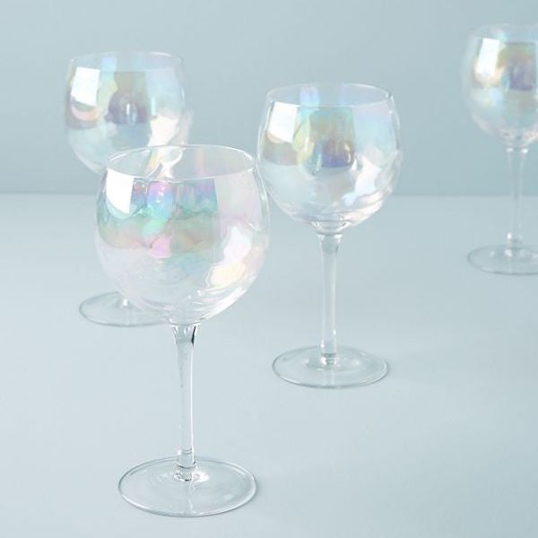 Lustered Red Wine Glasses, Set of 4 2