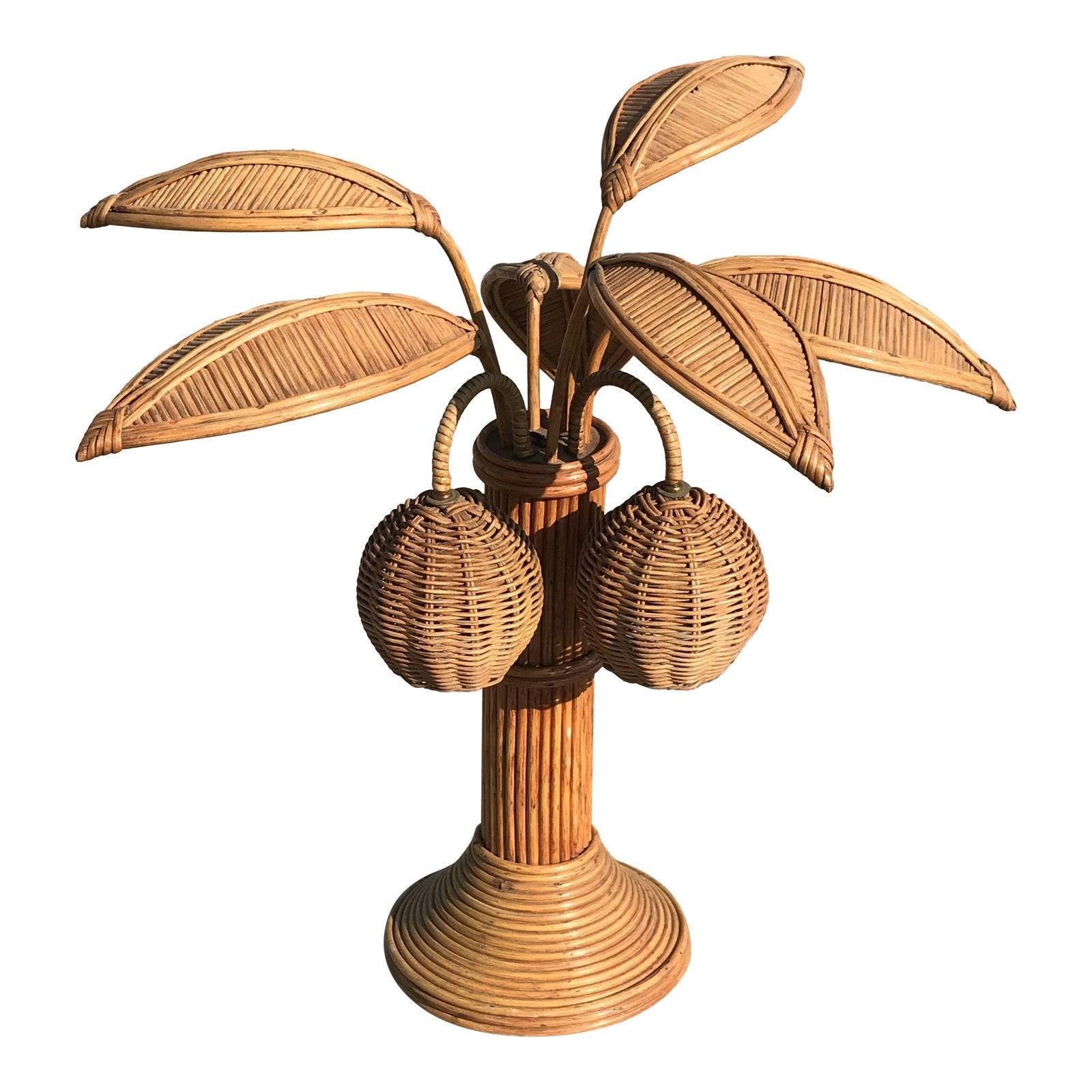 Mario Lopez Torres Rattan Palm Tree Table Lamp