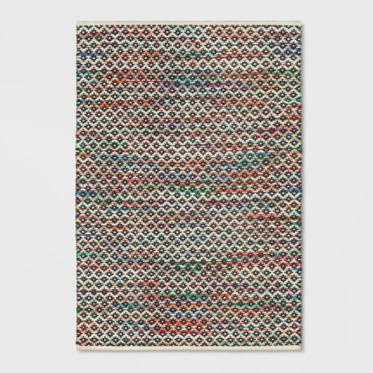 Striped Blue Diamond Woven Area Rug
