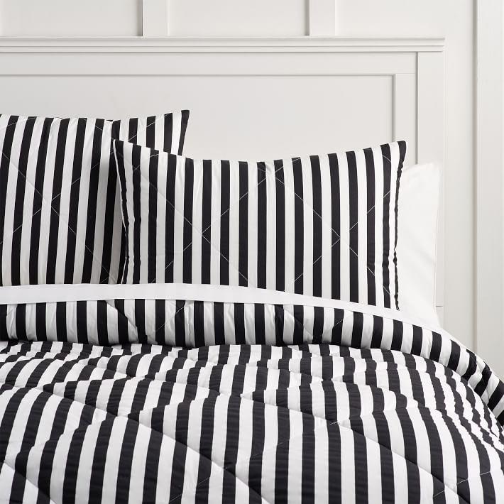 The Emily _ Meritt Pirate Striped Comforter Set, Black_Ivory