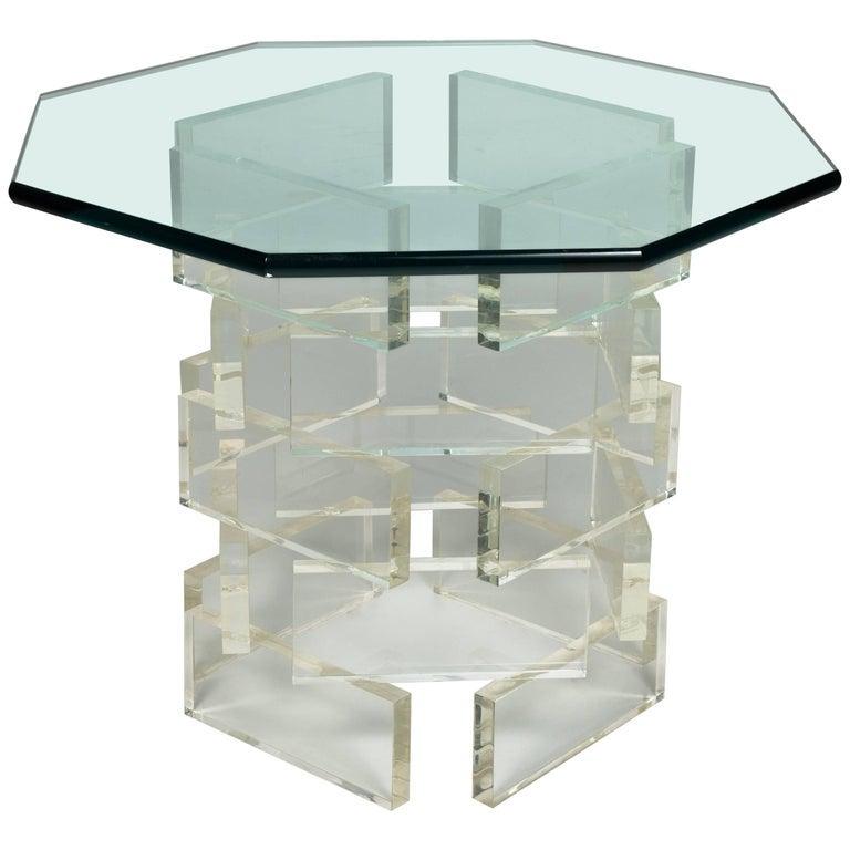 GLASS BRICKS _ 1980s Lucite Brick Side Table