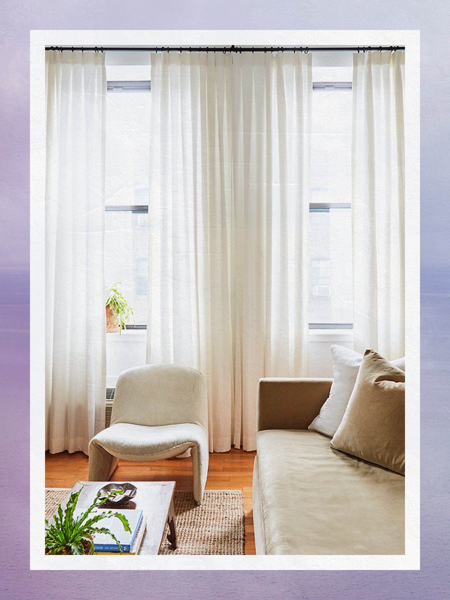 Curtains by Everhem Installed Above Tall Windows