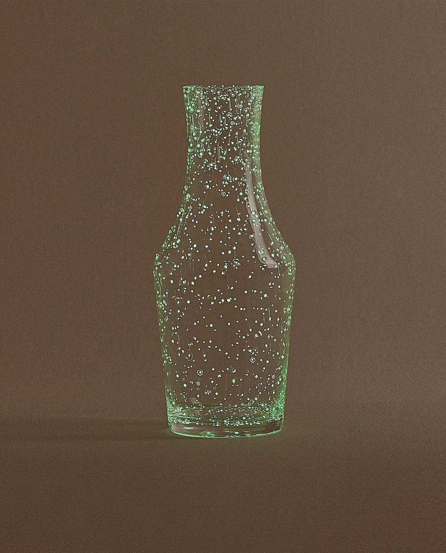 BUBBLED-DESIGN GLASS NIGHT SET
