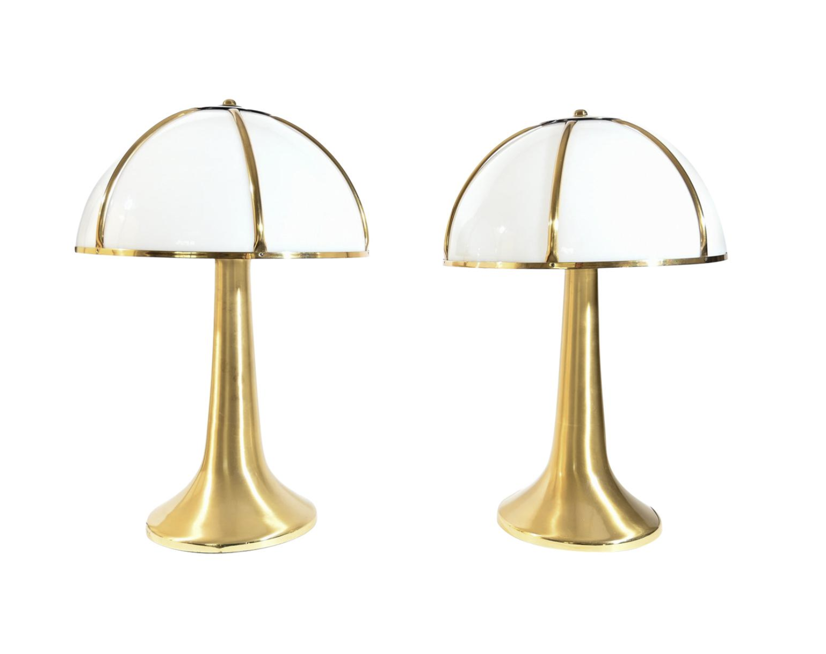 Pair of Signed Gabriella Crespi Fungo Table Lamps