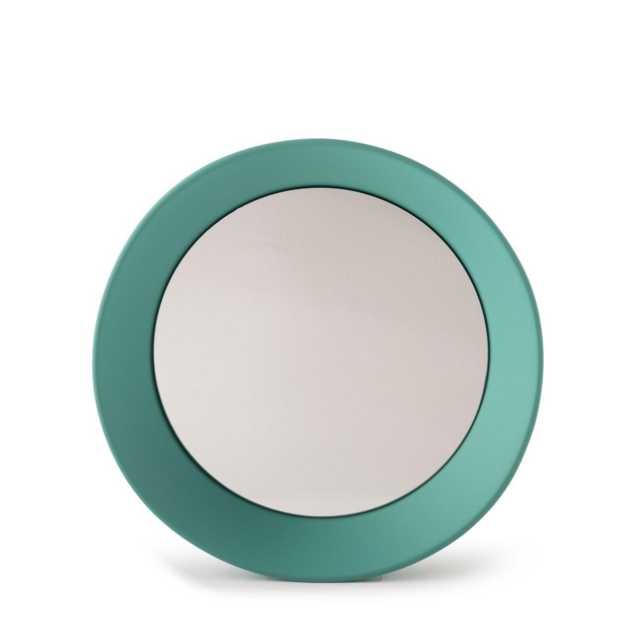 Irregular Round Green Frame Mirror