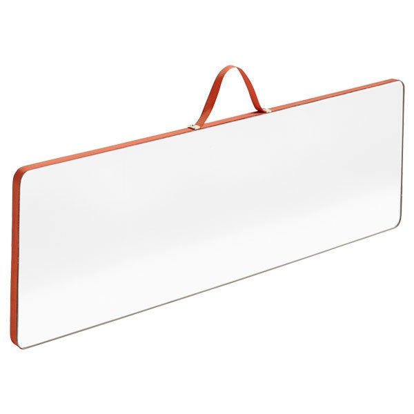 Rectangular Mirror Framed With Red Ribbon
