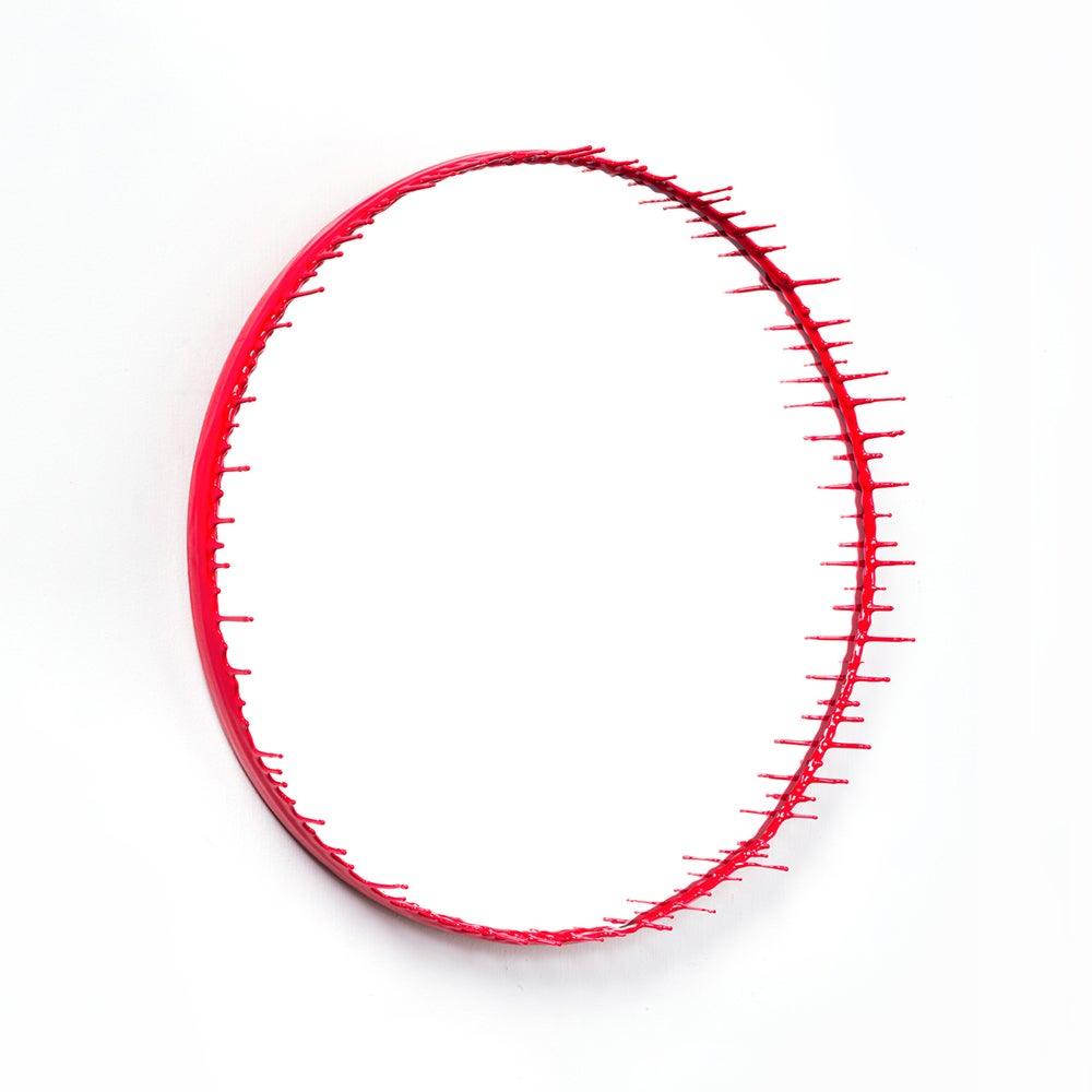 Round Red Drip Mirror