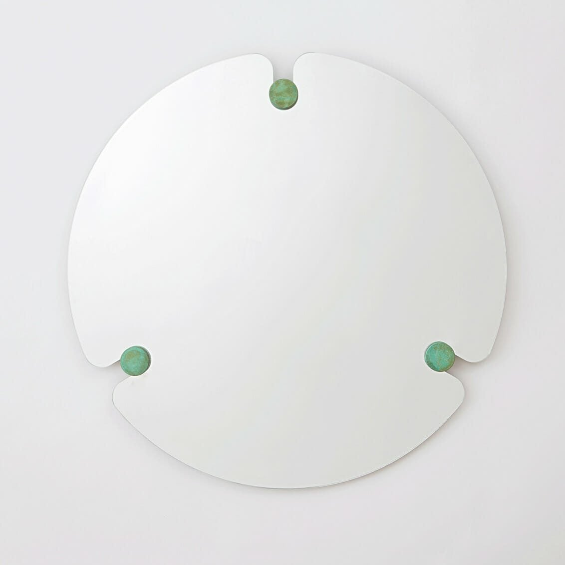 Frameless Mirror With Green Pegs
