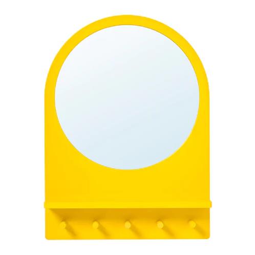 Yellow IKEA Mirror With Hooks
