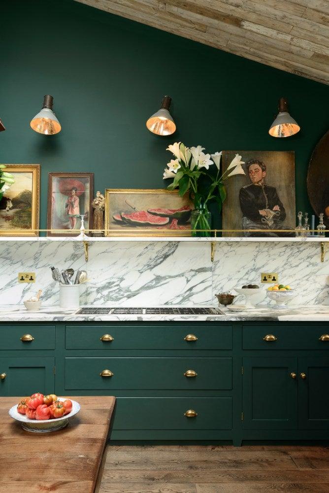dark green rustic english kitchen