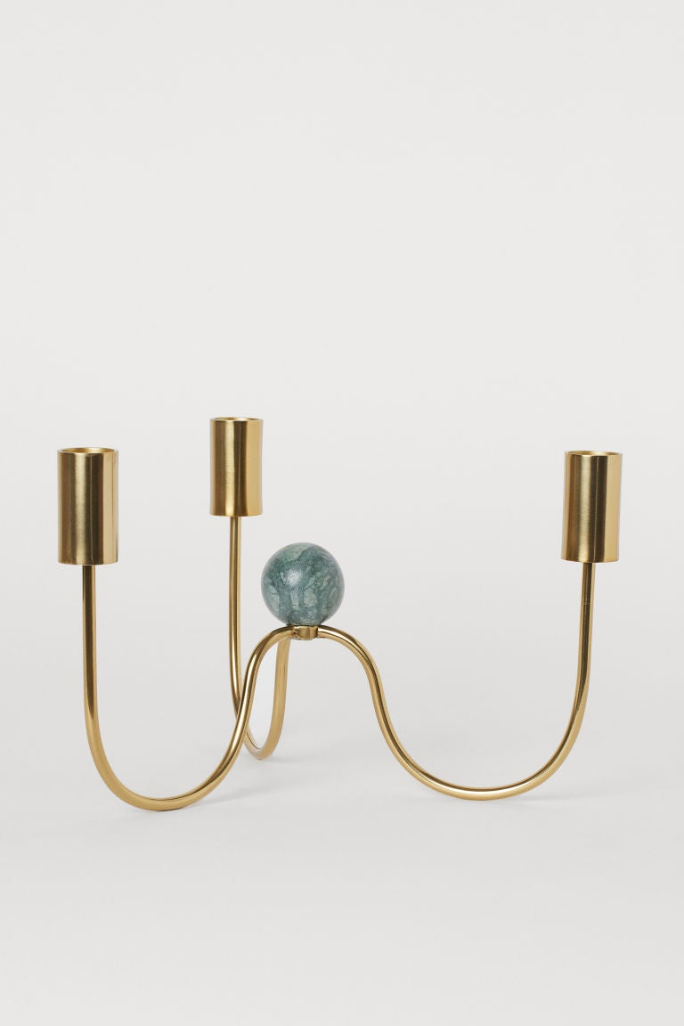 Metal and Marble Candelabra