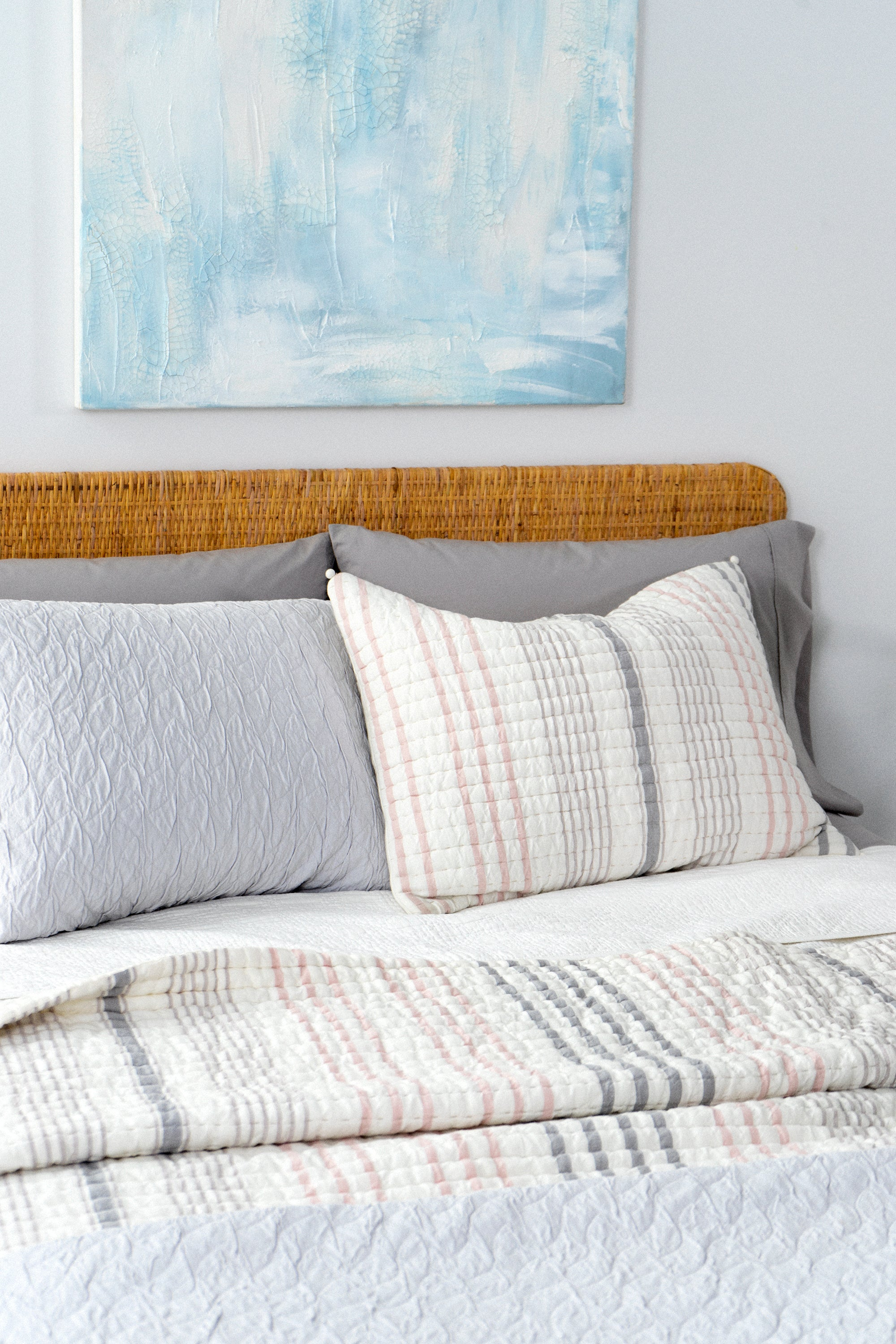 White and gray striped bedding