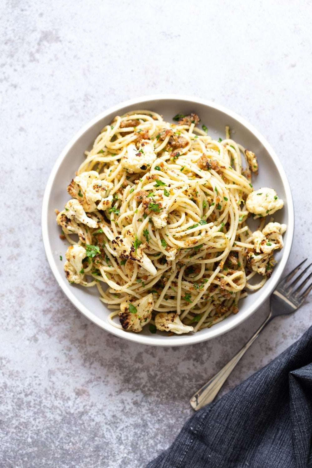 photo_courtesy_of_veganricha(SPAGHETTI WITH TOASTED GARLIC BREADCRUMBS AND BLISTERED CAULIFLOWER)