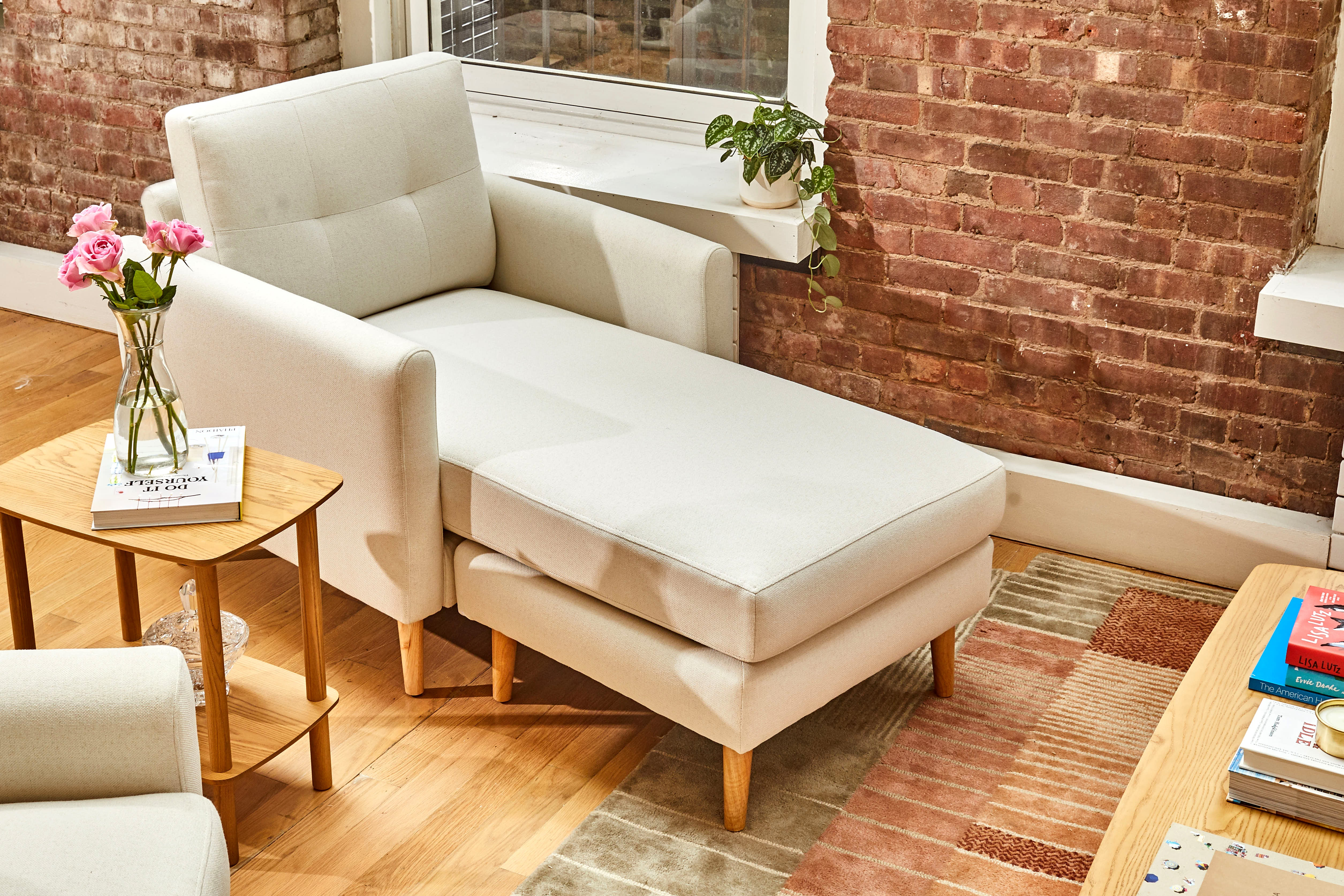 Brick wall with chaise