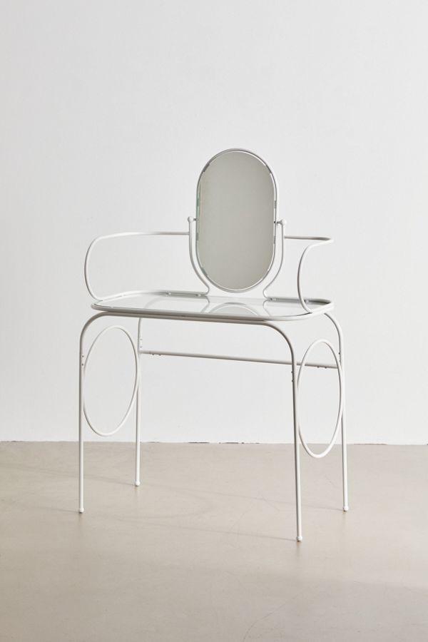 white metal vanity