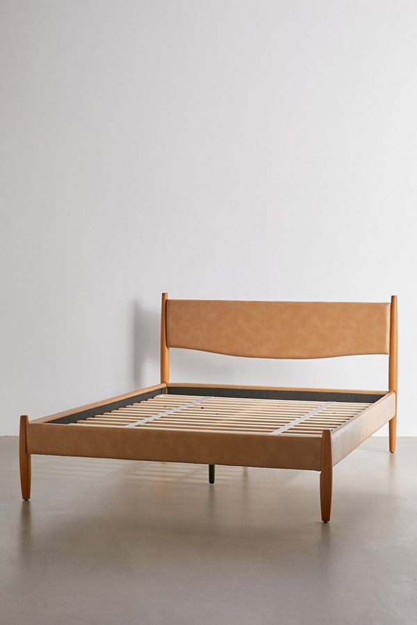 leather midcentury bed