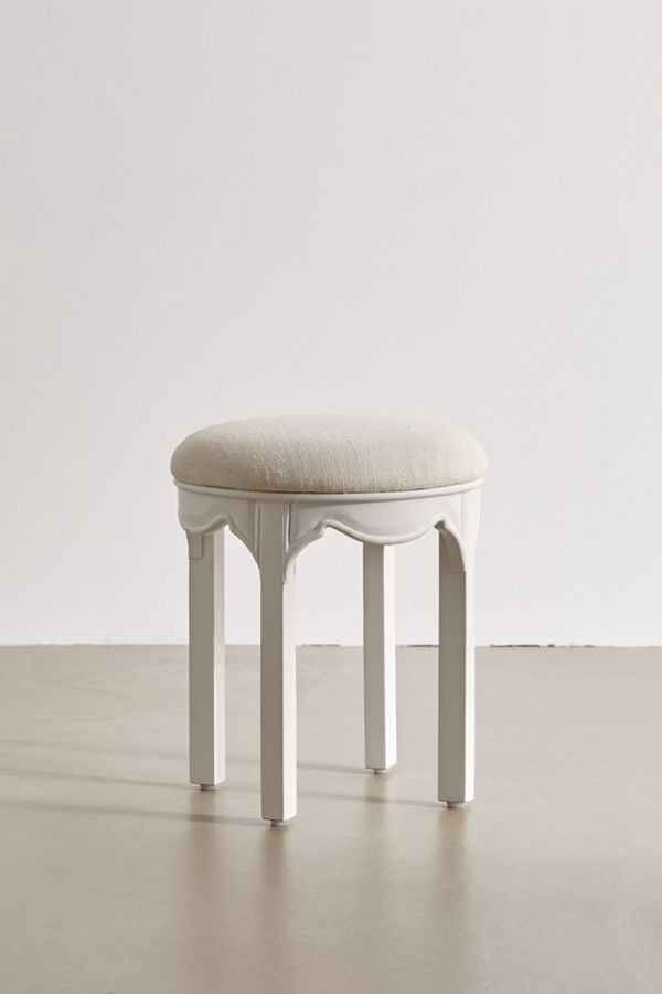 white wood upholstered stool