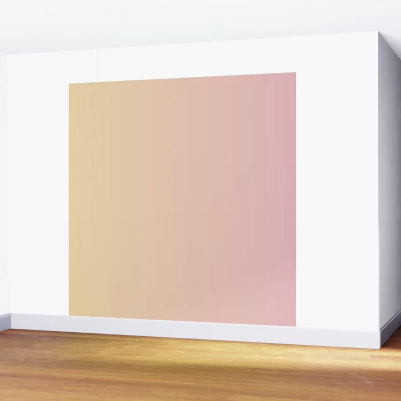 wall mural featuring a gradient fading from yellow to pink