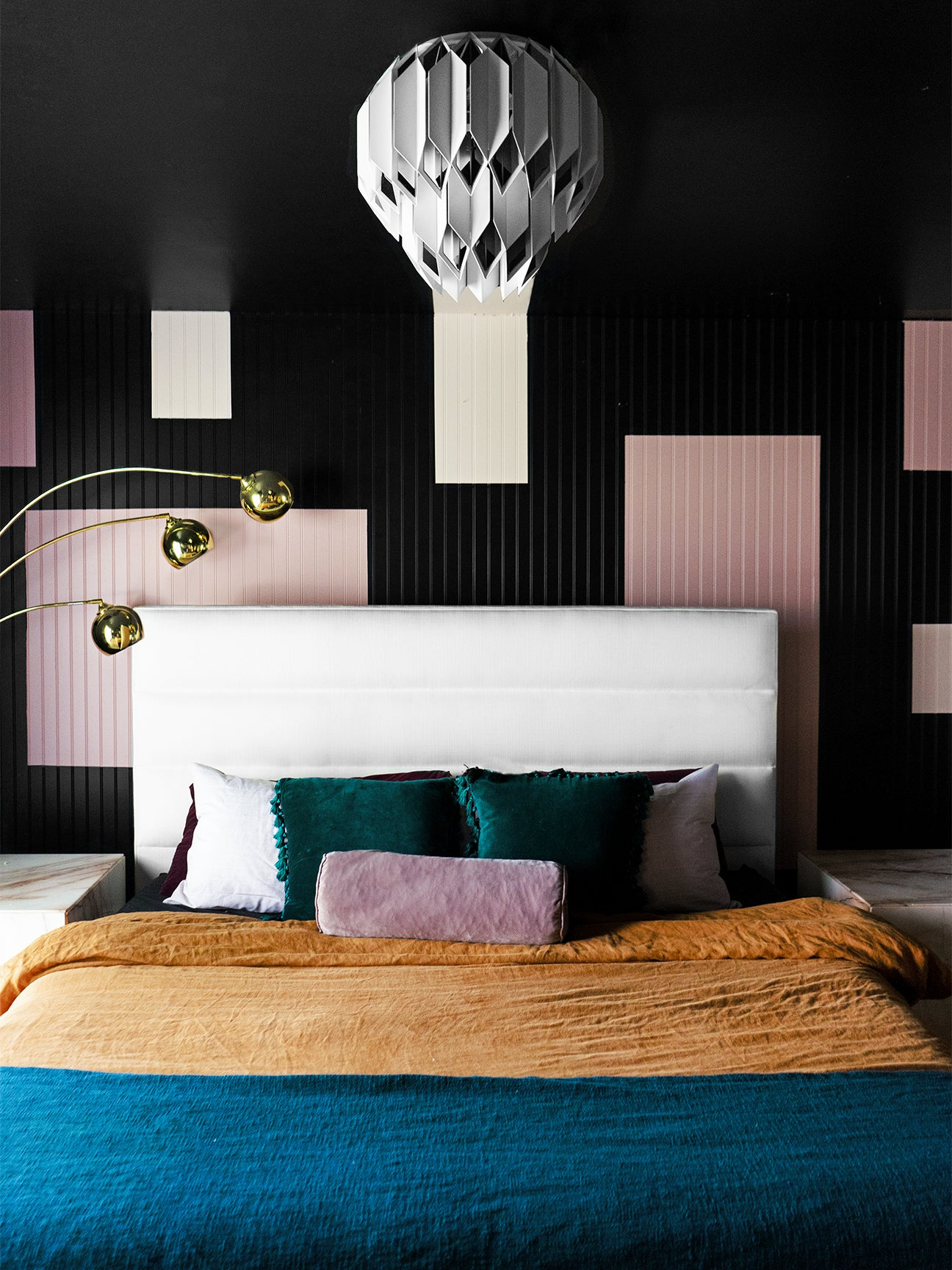 black-geometric-print-mural-bedroom