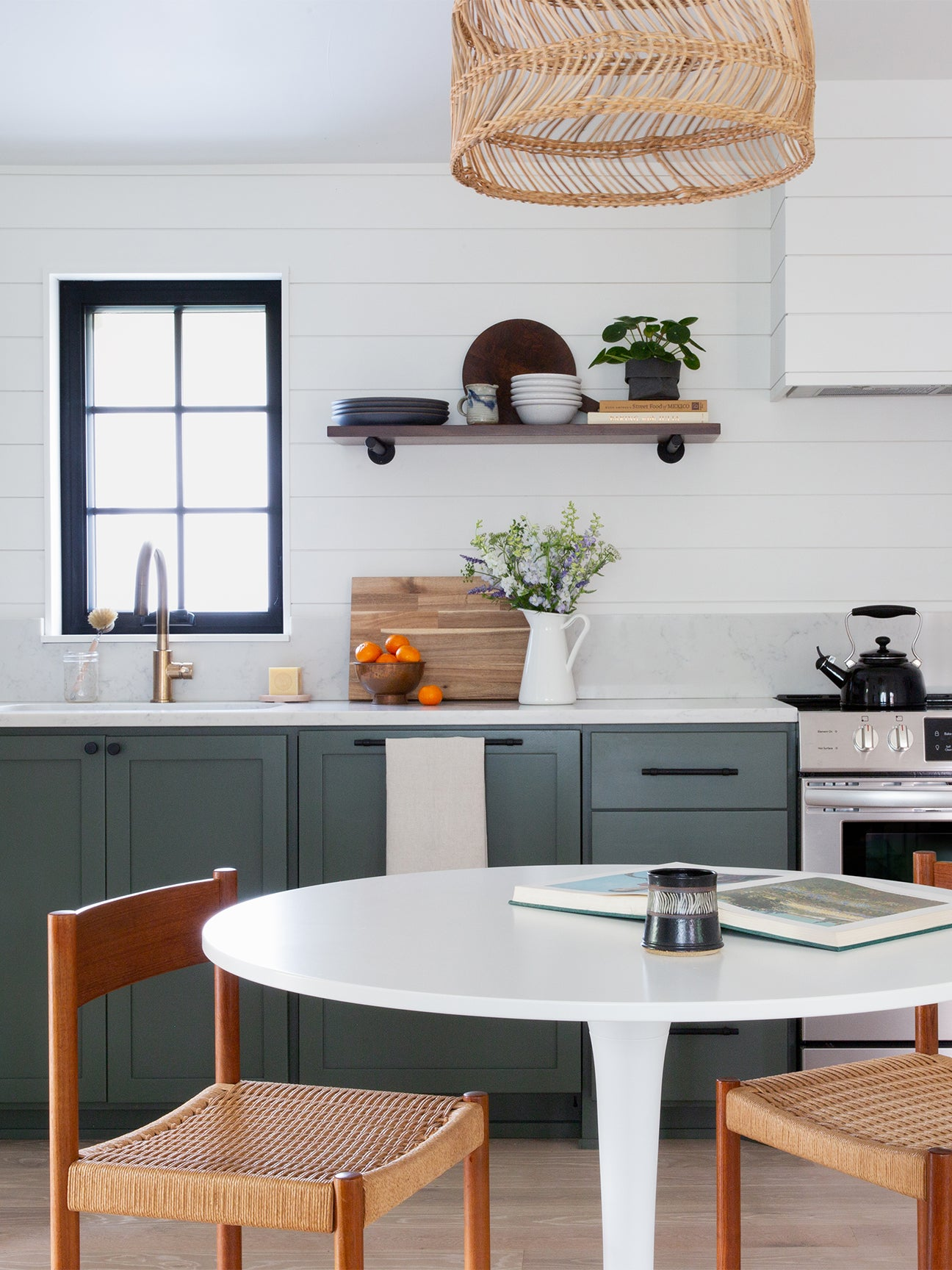 Kitchen with open shelving.