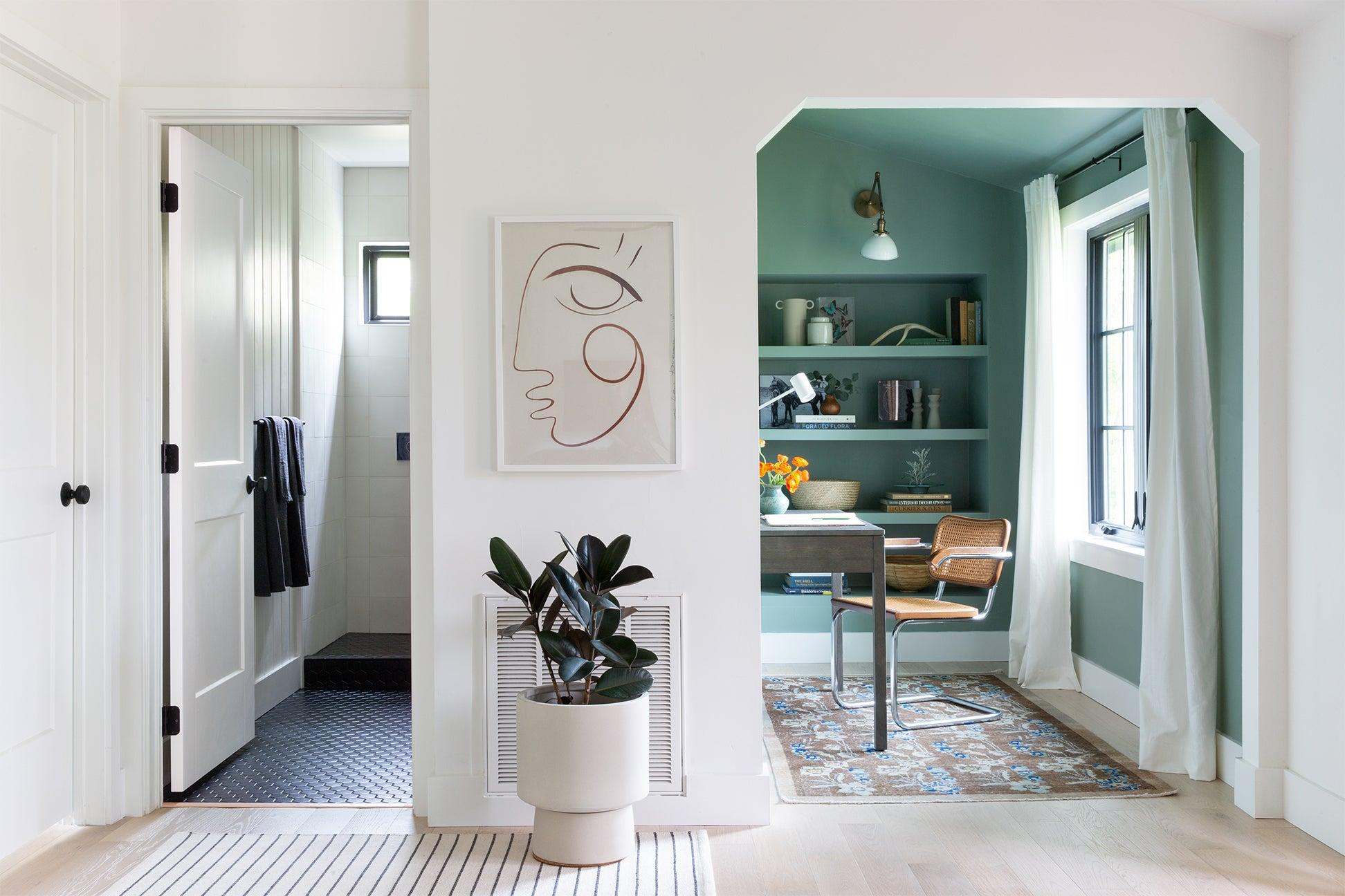 Aqua painted office.