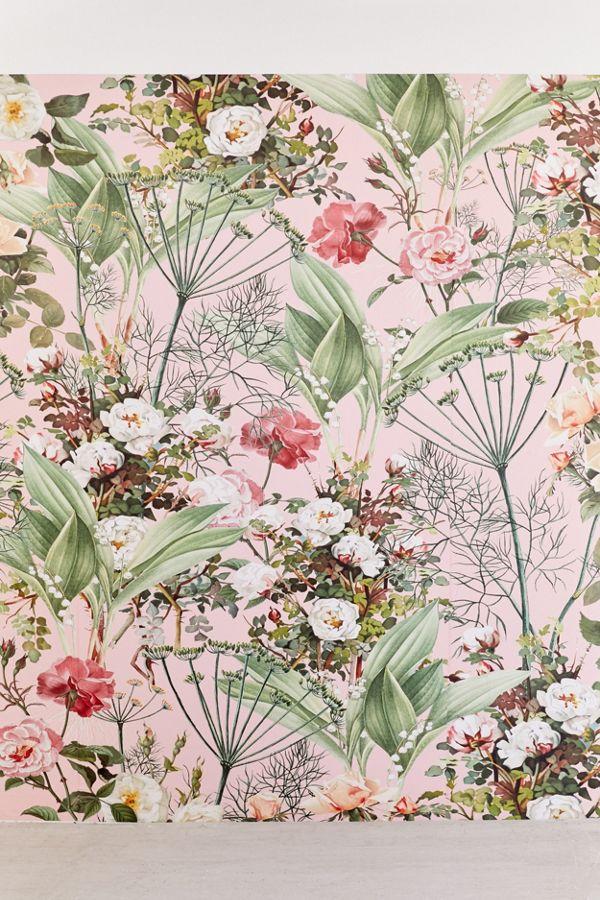 pink botanical wall mural