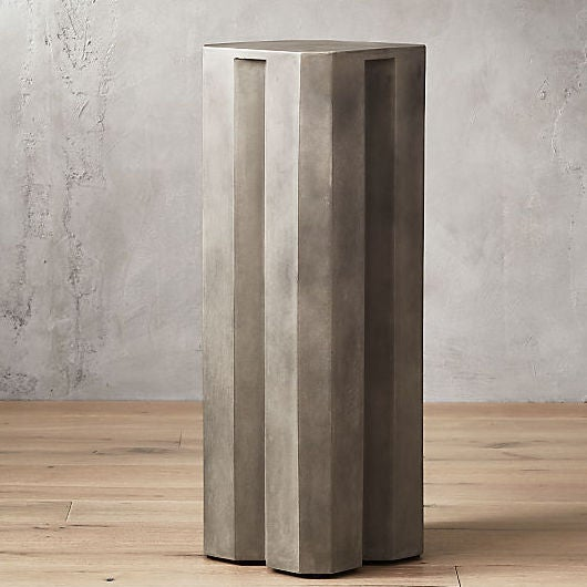 HEX TALL GREY CEMENT PEDESTAL TABLE