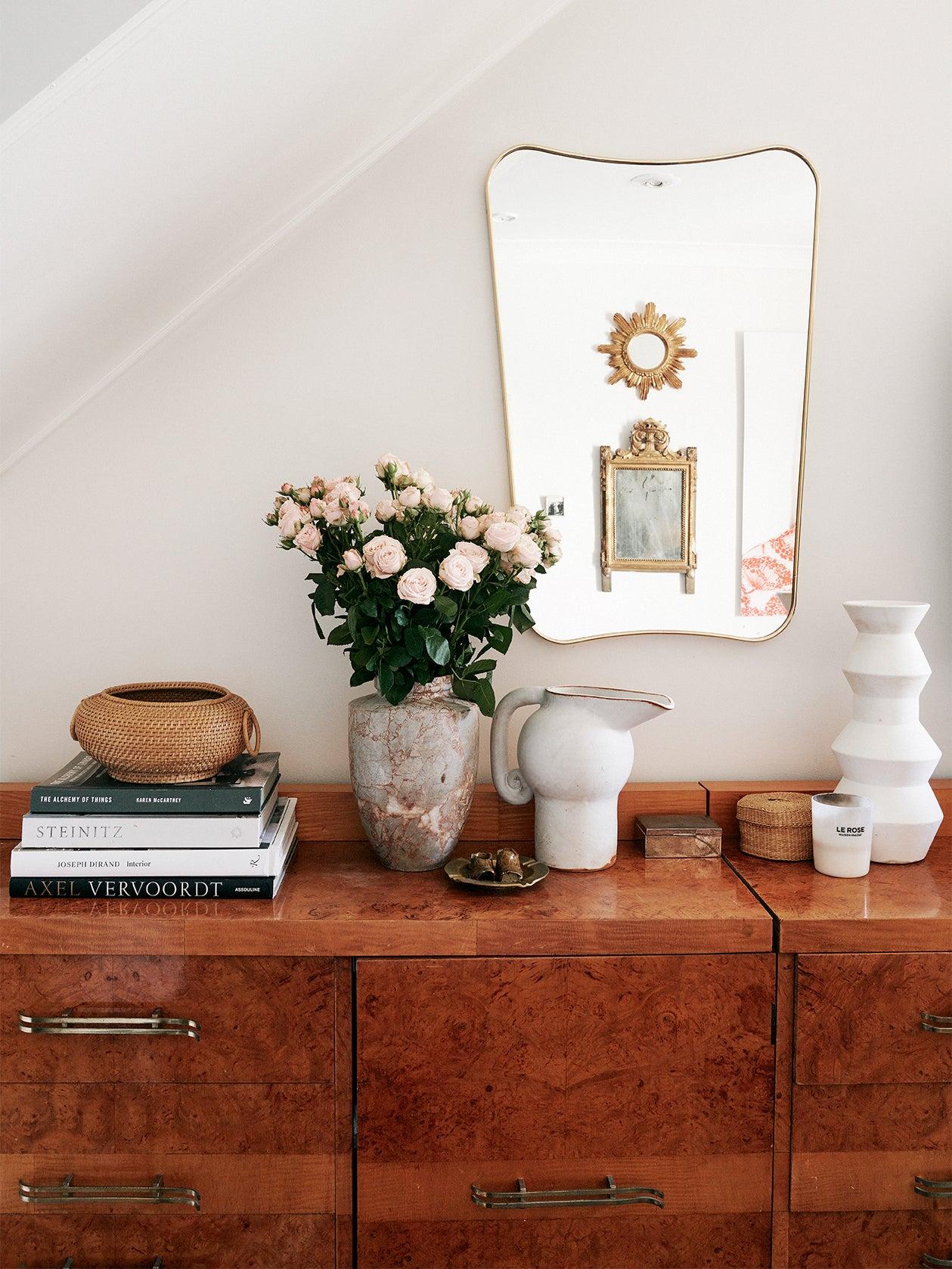 Dresser with vases.